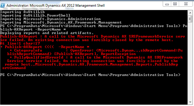 A call to the Microsoft Dynamics AX SRSFramework Service  failed.