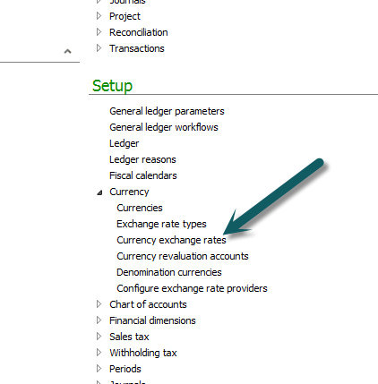 Currency exchange rate setup in Dynamics AX 2012