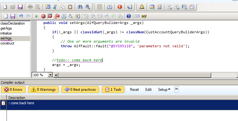 Todo is help us to remember the reason why we commented the code in Dynamics Ax 2012