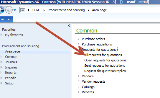 How to create request for quotations in Dynamics AX 2012
