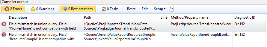 Field Mismatch in Union Query in Dynamics Ax 2012 R3