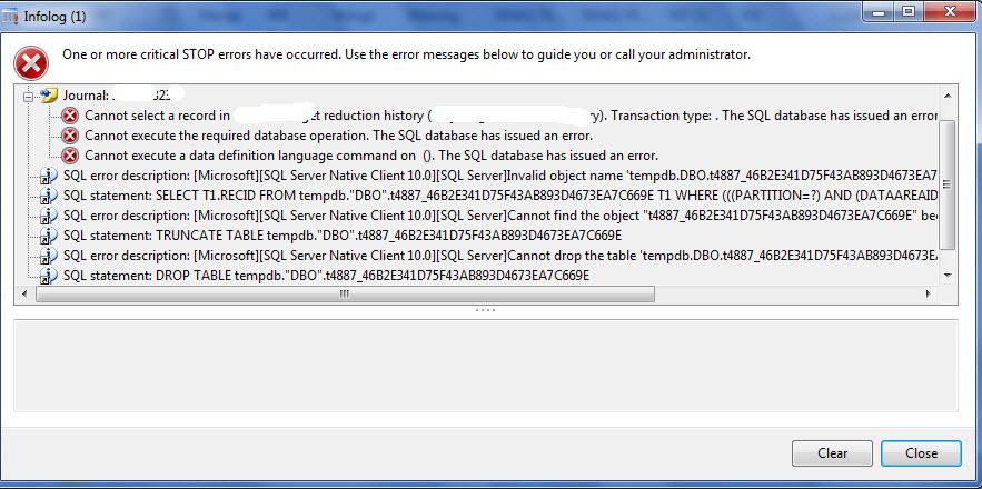 """Invalid object name """"tempd.dbo"""" Dynamics ax 2012 R2 cu7"""