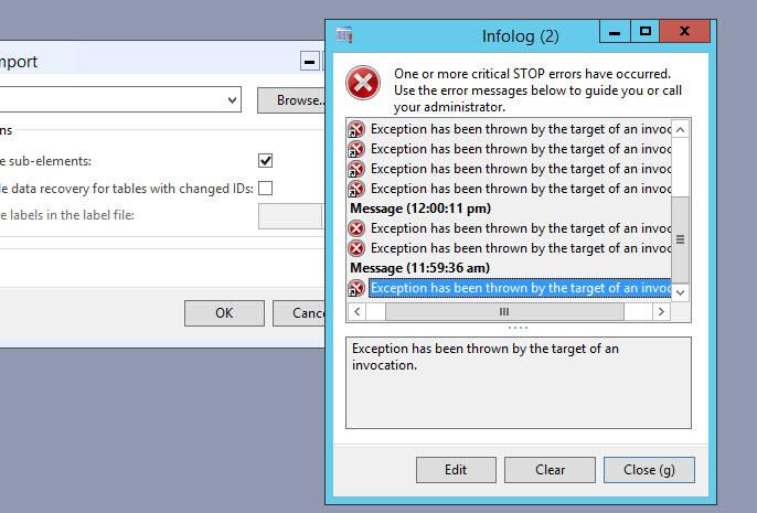exception has been thrown by the target of an invocation Dynamics Ax 2012 R3