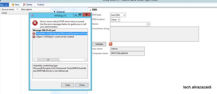 Entity Store and error Microsoft.Dynamics.AX.Framework.Tools.DMF.DriverHelper.DMFOdbcDriver Dynamics Ax 2012 R3