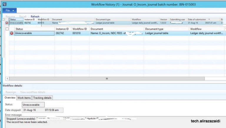 Stopped (unrecoverable) workflow dynamics ax 2012 R3