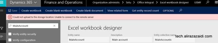 Could not upload to the storage location Dynamics 365 for finance and operations.