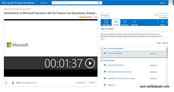 Free introductory course on MVA for Dynamics 365 for finance and operations, enterprise edition.