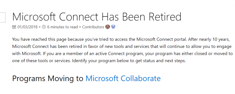 Microsoft Connect portal retired, you have to follow other link