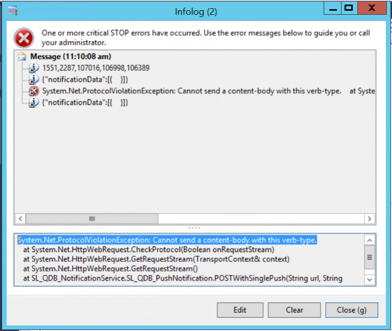 System.Net.ProtocolViolationException: Cannot send a content-body with this verb-type. Dynamics Ax 2012 Json Service